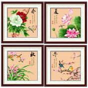 DOMEI Stamped Cross Stitch Kit, Four seasons flowers and birds, 49cm x 49cm