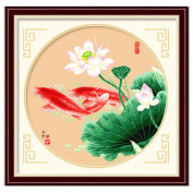 DOMEI Stamped Cross Stitch Kit, Koi Fish Swimming, 49cm x 49cm