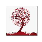 DOMEI Stamped Cross Stitch Kit, Love Tree of Red Heart, 50cm x 50cm
