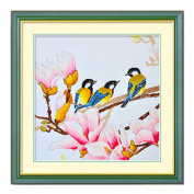 DOMEI Stamped Cross Stitch Kit, Three birds sitting on a branch, 49cm x 49cm