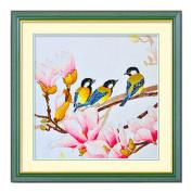 DOMEI Stamped Cross Stitch Kit, Three birds sitting on a branch, 49cm x 49cm