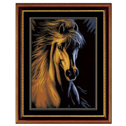 DOMEI 3D Stamped Cross Stitch Kit, Golden Horse Head, 47cm x 60cm