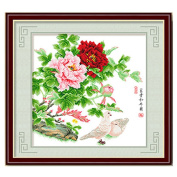 DOMEI Stamped Cross Stitch Kit, Big Peony Flower and Birds, 49cm x 49cm