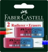 Faber-Castell 2 Erasers Blue-Red