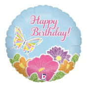 Betallic Happy Birthday Pastel Butterfly 46cm Holographic Foil Balloon