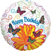 Betallic Happy Birthday Pop Art Butterfly Flower 46cm Holographic Foil Balloon