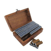 NUOLUX 70pcs Vintage Style Alphabet Letters Number Symbol Rubber Stamps Seals in a Wooden Box Case