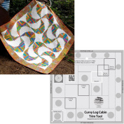Bundle of Creative Grids Curvy Log Cabin Trim Tool 20cm Finished Blocks and Cut Loose Press Rainbow Swirls Curvy Log Cabin Quilt Pattern