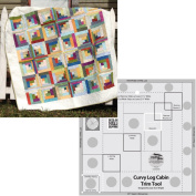 Bundle of Creative Grids Curvy Log Cabin Trim Tool 20cm Finished Blocks and Cut Loose Press Carousel Curvy Log Cabin Quilt Pattern