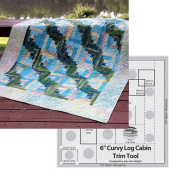 Bundle of Creative Grids Curvy Log Cabin Trim Tool 15cm Finished Blocks and Cut Loose Press Sun, Surf, and Seaweed Curvy Log Cabin Quilt Pattern
