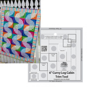 Bundle of Creative Grids Curvy Log Cabin Trim Tool 15cm Finished Blocks and Cut Loose Press Wiggly Worms Curvy Log Cabin Quilt Pattern