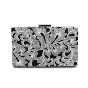 Kingluck satin embroider Wedding/Special Occasion Clutches/Evening Handbags with Pearls in silver colour