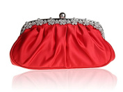Snowskite Women's Satin Clutch Purse Pleated Crystal Evening Clutch Bags