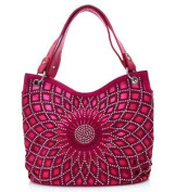 Silver Studded Flower Pink Fashion Bag