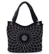 Silver Studded Flower Black Fashion Bag