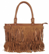 Large Brown Fringe Fashion Handag