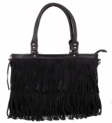 Large Black Fringe Fashion Handag