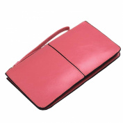 HuaDa Women's Genuine Leather Long Wallet Zipper Wristlet Clutch Handbag