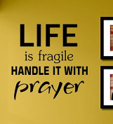 Life Is Fragile Handle It with Prayer Vinyl Wall Decals Quotes Sayings Words Art Decor Lettering Vinyl Wall Art Inspirational Uplifting
