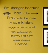 J4 Im Stronger Because I Had to Be... Vinyl Wall Decals Quotes Sayings Words Art Decor Lettering Vinyl Wall Art Inspirational Uplifting