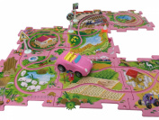 Perfect Life Ideas Theme Vehicle Puzzle Track Play Set - Battery Operated Toy Themed Style Vehicle Runs on Interchangeable Puzzle Tracks - Make up to 50 Track Combinations