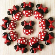 10pcs Minnie Mouse Red Bow Dress Cabochons Resin