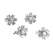 Tinksky Rhinestone Flower Pin Brooch Clips for Clothes Shoes Bag Decoration-4pcs
