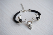 Moose Head Bracelet, Vintage Silvery Deer Head Charm with Black Rope Bracelet Christmas Gift