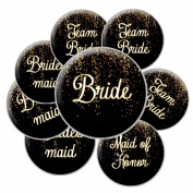 16 Black and Gold Sparkle Team Bride Buttons - Bachelorette Buttons - Bridal Party Buttons