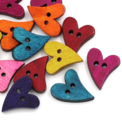 Souarts Mixed Heart Shape 2 Holes Wooden Buttons Pack of 100pcs