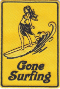 """""""GONE SURFING""""- SURFER-BEACH-OCEAN-TROPICAL/Iron On Embroidered Patch- Sports"""