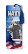 Dimension 9 3D Lenticular Bookmark with Tassel, U.S. Navy Featuring Nimitz-Class USS Ronald Reagan (CVN 76) and American Flag