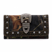 Realtree Western Buckle Camouflage Womens Trifold Chequebook Wallet