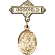 Gold Filled Baby Badge with St. Vincent Ferrer Charm and Godchild Badge Pin 2.5cm X 1.6cm