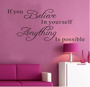 """Amaonm® Removable Vinyl Quotes Saying Dr Seuss """"If You Believe in Yourself, Anything Is Possible"""" Inspirational Wall Stickers Decals Murals Home Art Decor for Kids Babys Bedroom Nursery Classroom"""