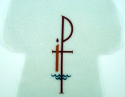 Chi Rho Cross with Baptism Candle 25cm White Polyester Felt Baptismal Garment Baby Keepsake Gift