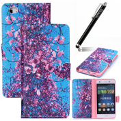 Ukayfe Huawei P8 Lite Case,Huawei P8 Lite Cover,Leather Case For Huawei P8 Lite, - Blue Pink Flower Design Magnetic Flip Folio PU Leather Wallet Case with Stand & Credit Card Slots Cover for Huawei P8 Lite with 1 x Black Stylus