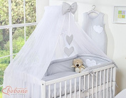 NEW & BEAUTIFUL LARGE WHITE CANOPY / MOSQUITO NET / DRAPE WITH decorative GREY BOW & HEARTS + HOLDER TO FIT BABY COT OR COT BED