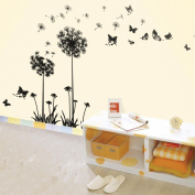 Walplus (TM) Huge Dandelion Flower Wall Stickers - Home Decoration, 60cm x 120cm, PVC, Transparent Borders, Removable, Self-Adhesive, Black