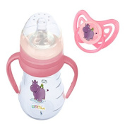 Trinklernflasche with Handles incl. Cleaner and Beak 250 ml + Pacifier Hippo pink ab 6 Months