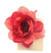 Deep Coral Reddish hair flower clip for special outings