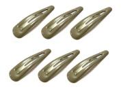 Hair Slides - 4.7cm - 6 Pack - Various Colours - Grey