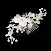 AlicePub Flower Leaves Crystal Side Hair Comb Bridal Wedding Accessory