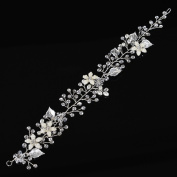 Remedios Crystal & Rhinestone Flower Leaves Bridal Wedding Hair Vine Headband, Silver