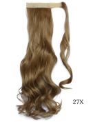 Beauty-Emily 45cm Inches /100g Magic Tape Full Curly Big Wave Wig Spiral Different Colour Hair Extensions Natural Look Scrunchi Scrunchy,Colour #27X