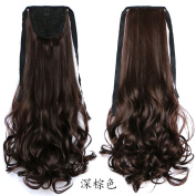 Beauty-Emily 60cm /110g Gir's One Piece Hair Piece Wave CurlSpiral Pony Tail Hair Extensions Scrunchie Pony Tail Wigs for Lady,Colour Dark Brown