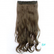Beauty-Emily 70cm /140g Women Siral 5 Clips One Piece Scrunchi Hairpiece Brown/Black/Flaxen Pony Tail Wig Different Colour Hair Extensionse Scrunchy,Colour #8