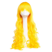 S-noilite Yellow 60cm Long Curly Full Wig Cosplay Party Daily Dress Synthetic Adjustable