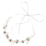 AlicePub Flower Crystal Wedding Party Headband Bridal Hair Vine Headwrap