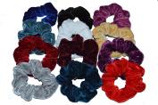 Set of Twelve Colourful Velvet Hair Scrunchy Hair Bobble Hair Band Ponytail Holde